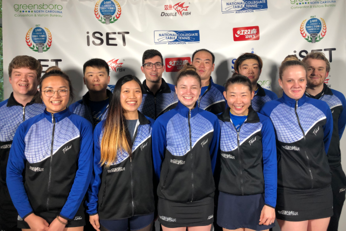 Photo of the 2019 Texas Wesleyan table tennis team at the national championships in North Carolina.