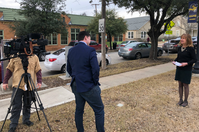Photo of Dr. Linda Metcalf speaking with WFAA about a Tarrant County arrest involving Munchausen