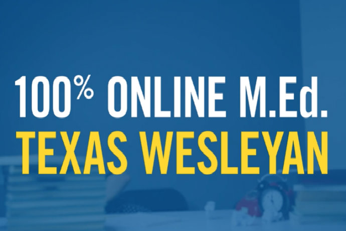 Screenshot from Texas Wesleyan's 100% online M.Ed. commercial.