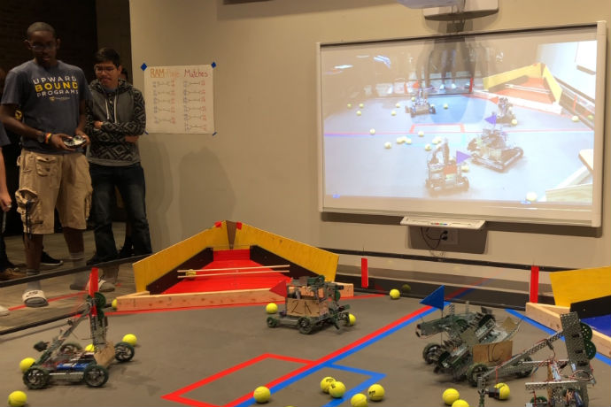 Students with the Upward Bound program at Texas Wesleyan compete against each other with their robotics during the second Upward Bound robotics competition.