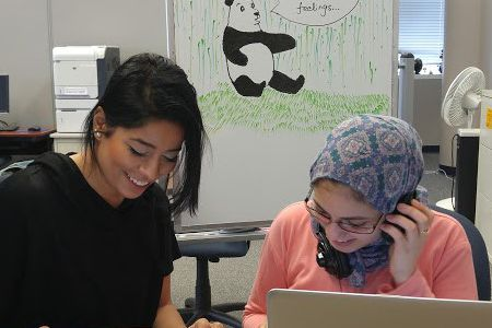 Two students studying in the Academic Success Center.