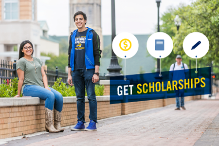 "Image of Texas Wesleyan students on campus with text ""Scholarships"""