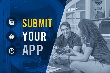 "Texas Wesleyan feature graphic with text overlay that reads ""submit your app"""