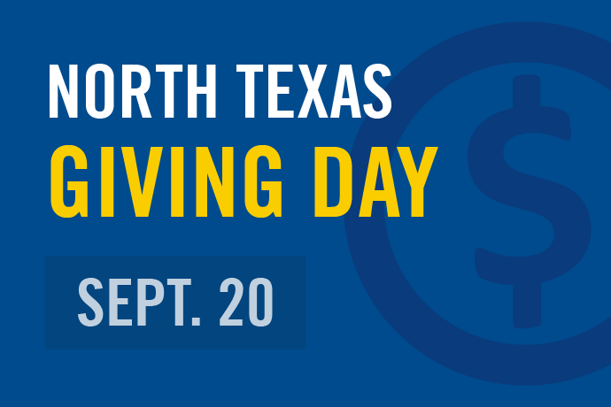 Blue and gold graphic with text that North Texas Giving Day 2018 is taking place on Sept. 20