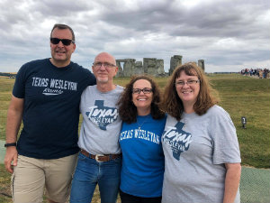 A photo of Texas Wesleyan Rams standing in front of Stonehenge