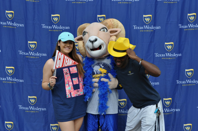 Students with Willie showing their ram pride.