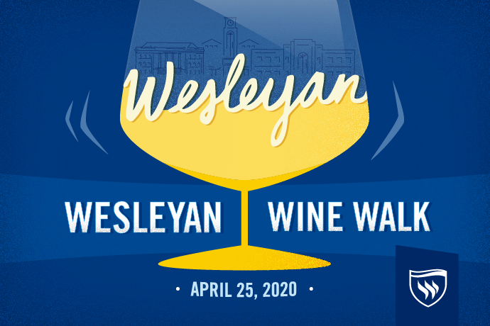 Wesleyan Wine Walk logo for April 25, 2020.