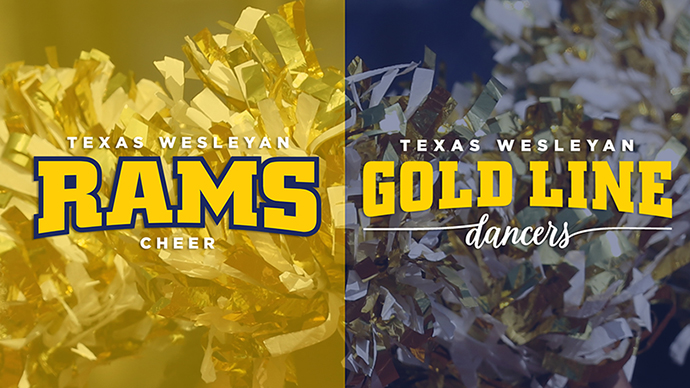 cheerleaders' pom-poms adorn the background of this graphic with the cheer and dance team logos in the foreground.
