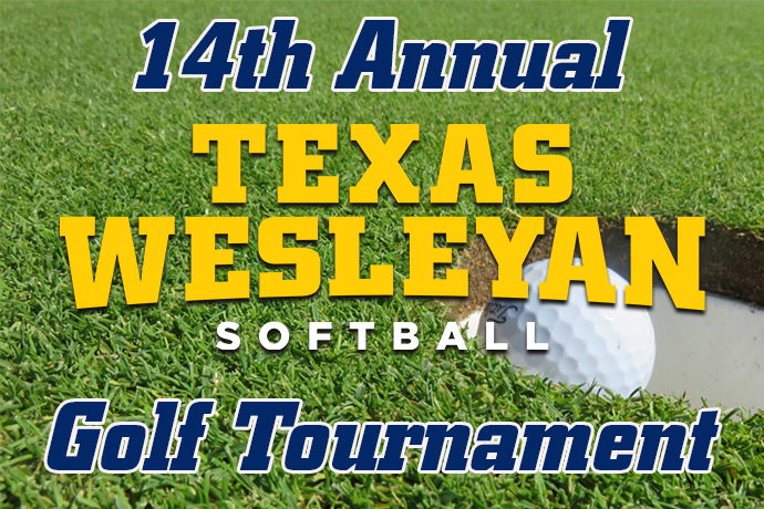 a background picture of a golf ball falling into the cup, with the words '14th Annual Texas Wesleyan Softball Golf Tournament' in the foreground.