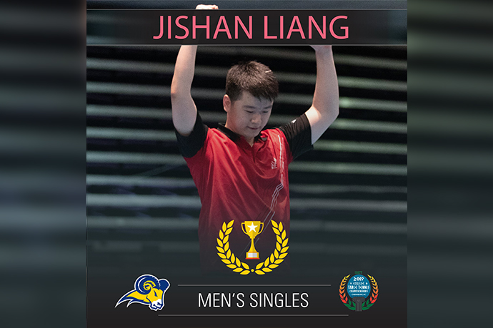 Jishan Liang wins 2019 men's singles title at NCTTA National Championships