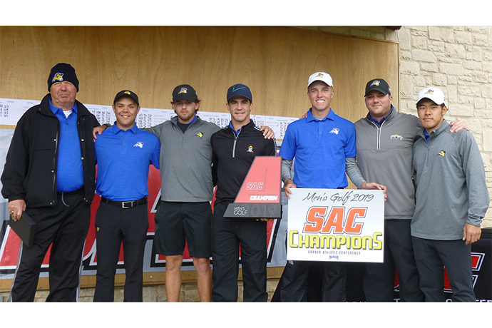 Photo of the members of the SAC-conference-championship-winning TXWES men's golf team.