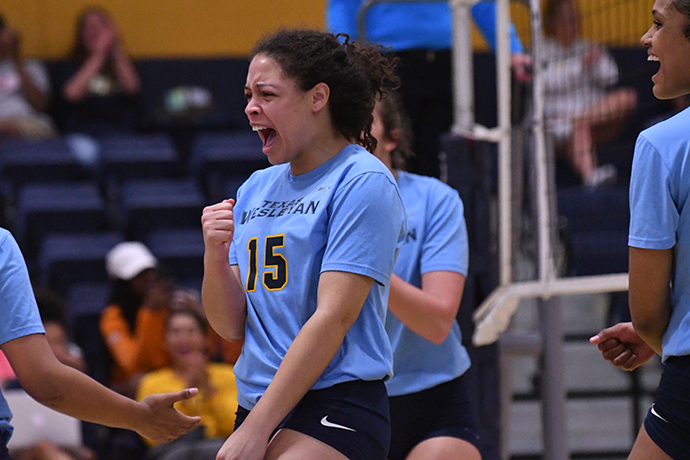 Sahsa Robinson celebrates a point during the SAC tournament quarterfinal win over Wayland Baptist