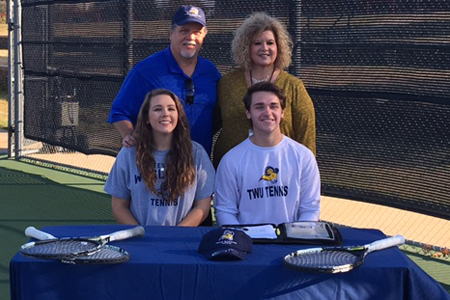 Mace Brasher (right) signs to join his sister Maggie (left) at Texas Wesleyan.