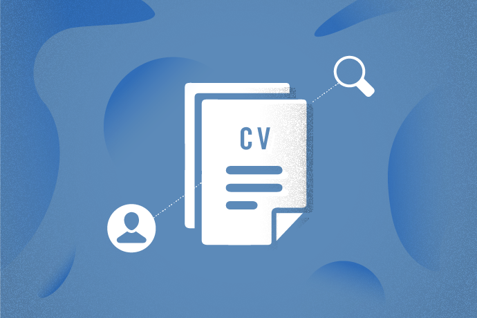 Graphic of resume, magnifying glass to be used as resume section thumbnail