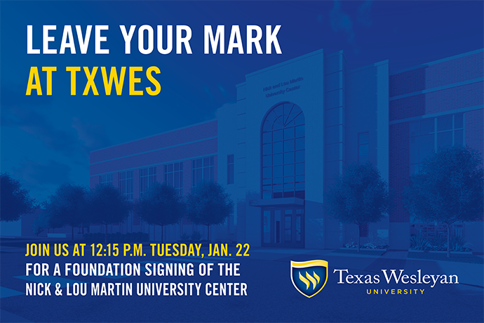 Students, faculty, staff and alumni will come together Jan. 22 to leave their mark on the Nick & Lou Martin University Center by signing the foundation. Save the date to be a part of this special event!
