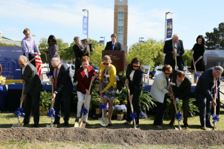 The 128-year-old university broke ground April 19 on the new $20.35 million, 44,000-square-foot Nick & Lou Martin University Center in front of a boisterous crowd of students, alumni, supporters, staff and community leaders.