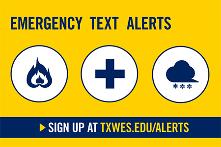 TXWES Alerts are the fastest way to get notified in the event of a Texas Wesleyan campus emergency or school closing due to winter weather.