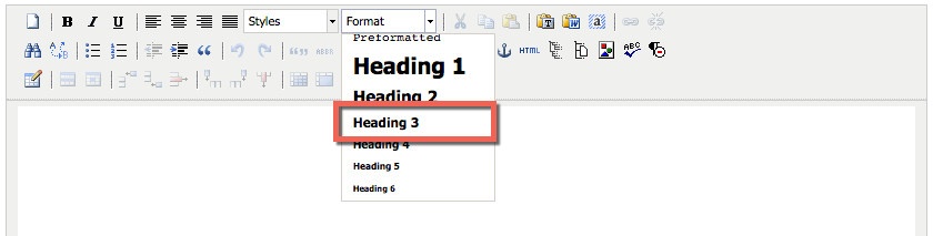 Screenshot of the heading dropdown menu in TerminalFour's Content Management System menu