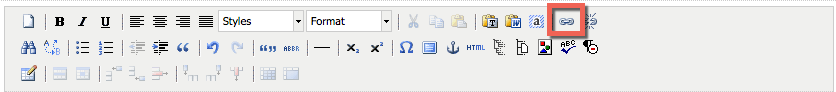 Screenshot of link icon in TerminalFour's Content Management System menu