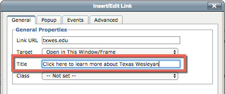 Screenshot of link pop-up window in TerminalFour's Content Management Systems