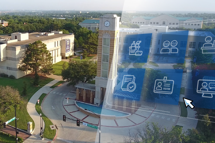 Photo of the TXWES campus with symbols showing different COVID-19-related topics, including cleaning, face coverings and prescreening.