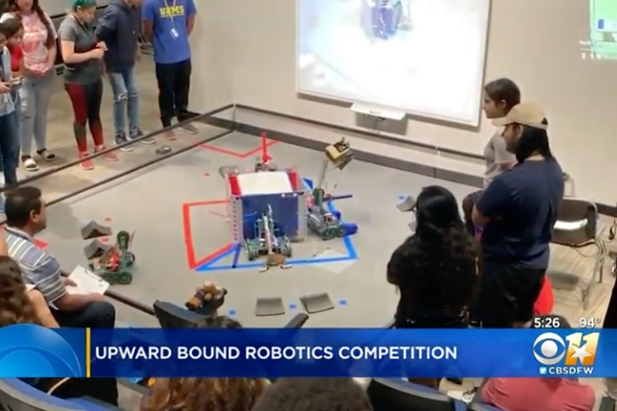 Photo of robots in 2019 TXWES Upward Bound robotics competition from CBS 11's coverage.