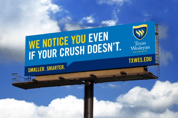 Photo of a Texas Wesleyan billboard, which reads