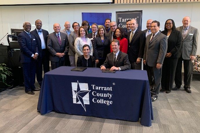 Photo of TCC and TXWES leadership after Pathway MOU signing.