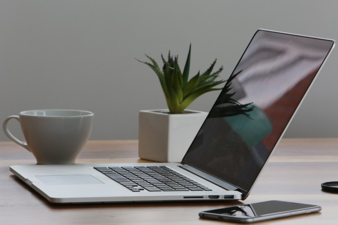 Photo of laptop computer sitting on desk with plant, mug and smartphone.