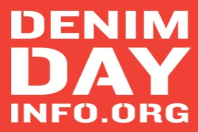 Red background box with white writing of Denim Day Info.Org