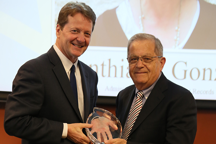 A photo of Texas Wesleyan President Frederick G. Slabach and Political Science Professor Ibrahim Salih at the 2019 Stars of Service event. Salih was honored for his 50 years of service to TXWES