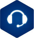 Esports varsity team icon – blue icon with a white headset