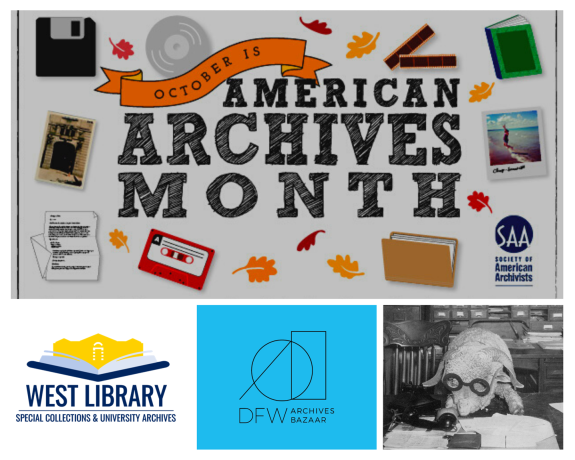 Ad for archives month with old things such as a floppy disk, cassette tape, and photo film negatives.