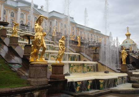 View of Gold Statuary Cascade at Petrodvorets Russia 2016