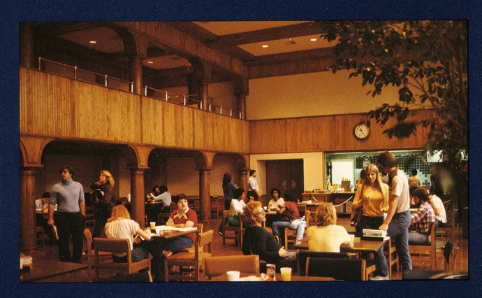 a photo of the university's student center in the 1980s