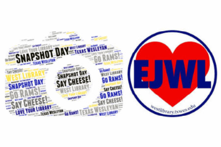 Word cloud in the shape of a camera next to the EJWL inside of a heart logo.