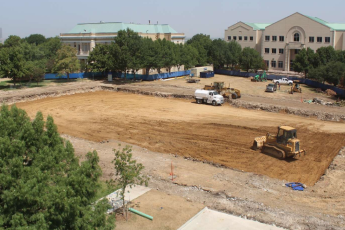 View of construction on the Nick and Lou Martin University Center taken July 16, 2018