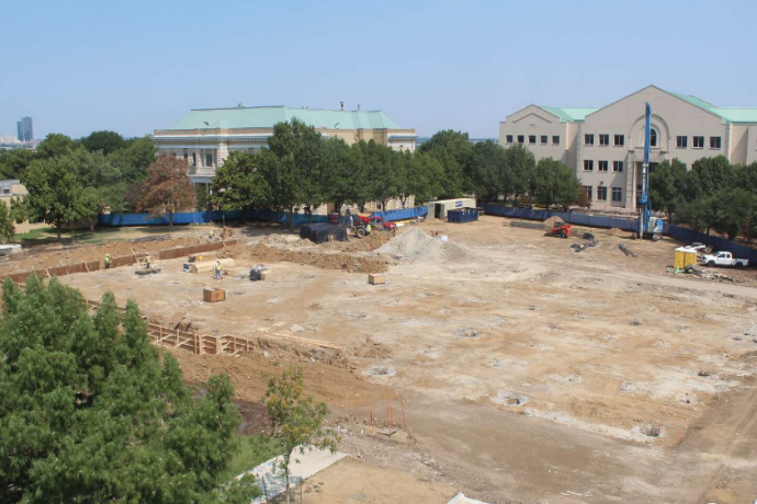 Photo of from the time lapse construction camera pointed at the site of the Martin Center from August 2, 2018.