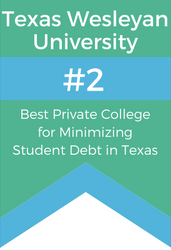 Texas Wesleyan University ranked second in Texas and 15th nationally in a study by LendEDU among 1,161 other four-year, private colleges and universities of students who graduated with the least amount of debt.