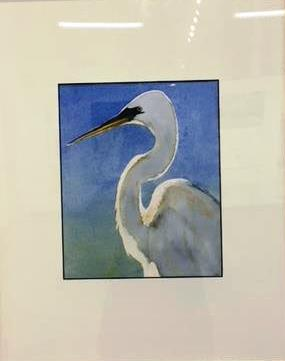 This is a watercolor of a water fowl created by artist Jeffery Delotto, displayed in Art Bash