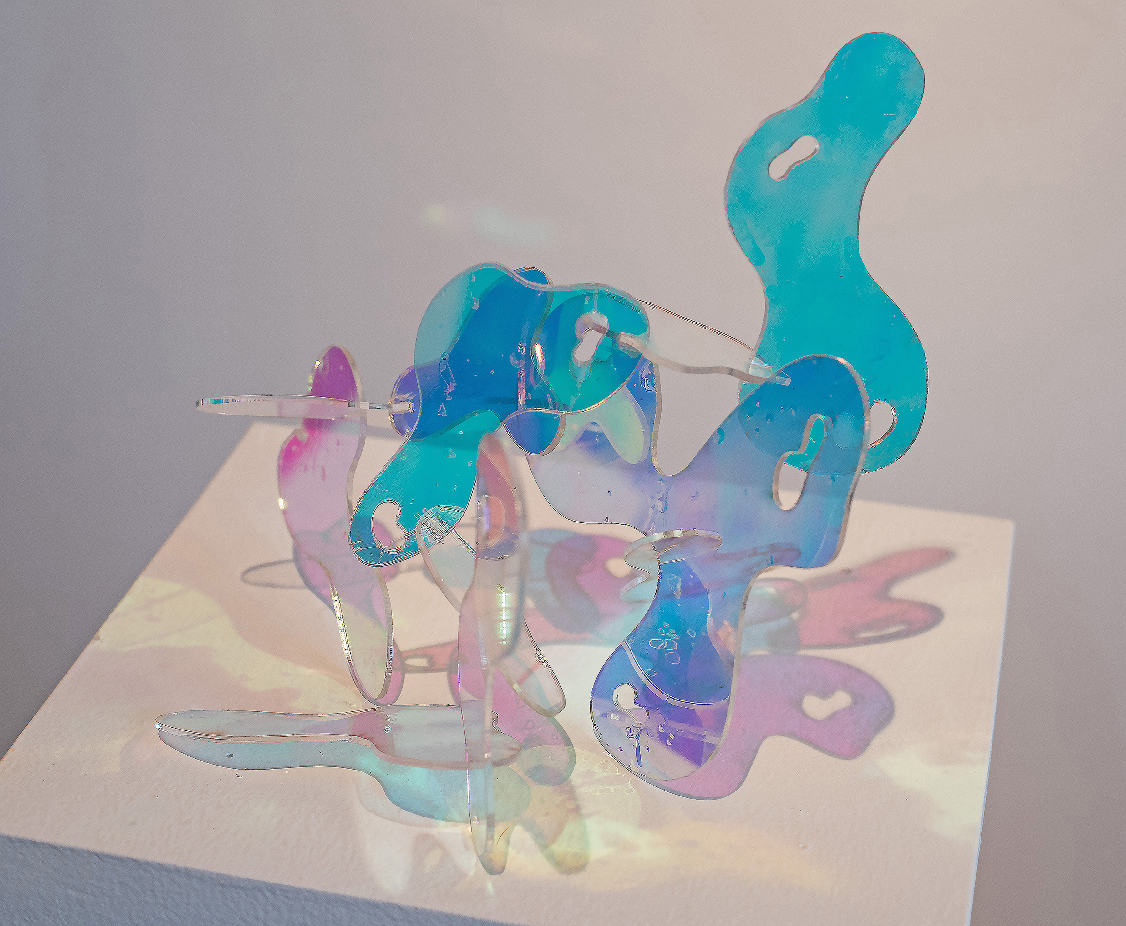 Three-dimensional, laser cut plexi-glass.  It consists of light blue and pink organic shapes.