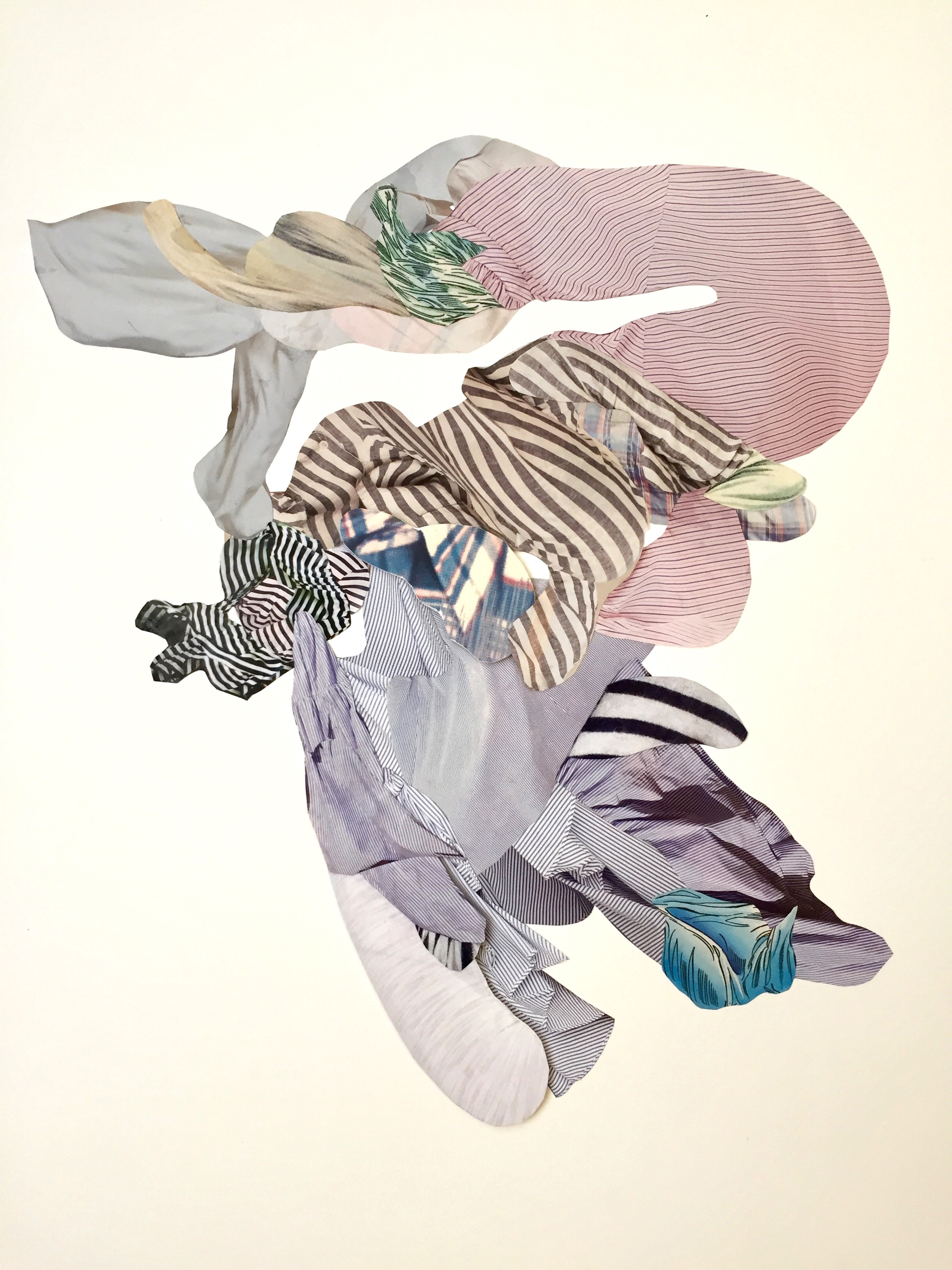 A large format collage of organic shapes with patterns that resemble clothes on a clothesline blowing in the wind.