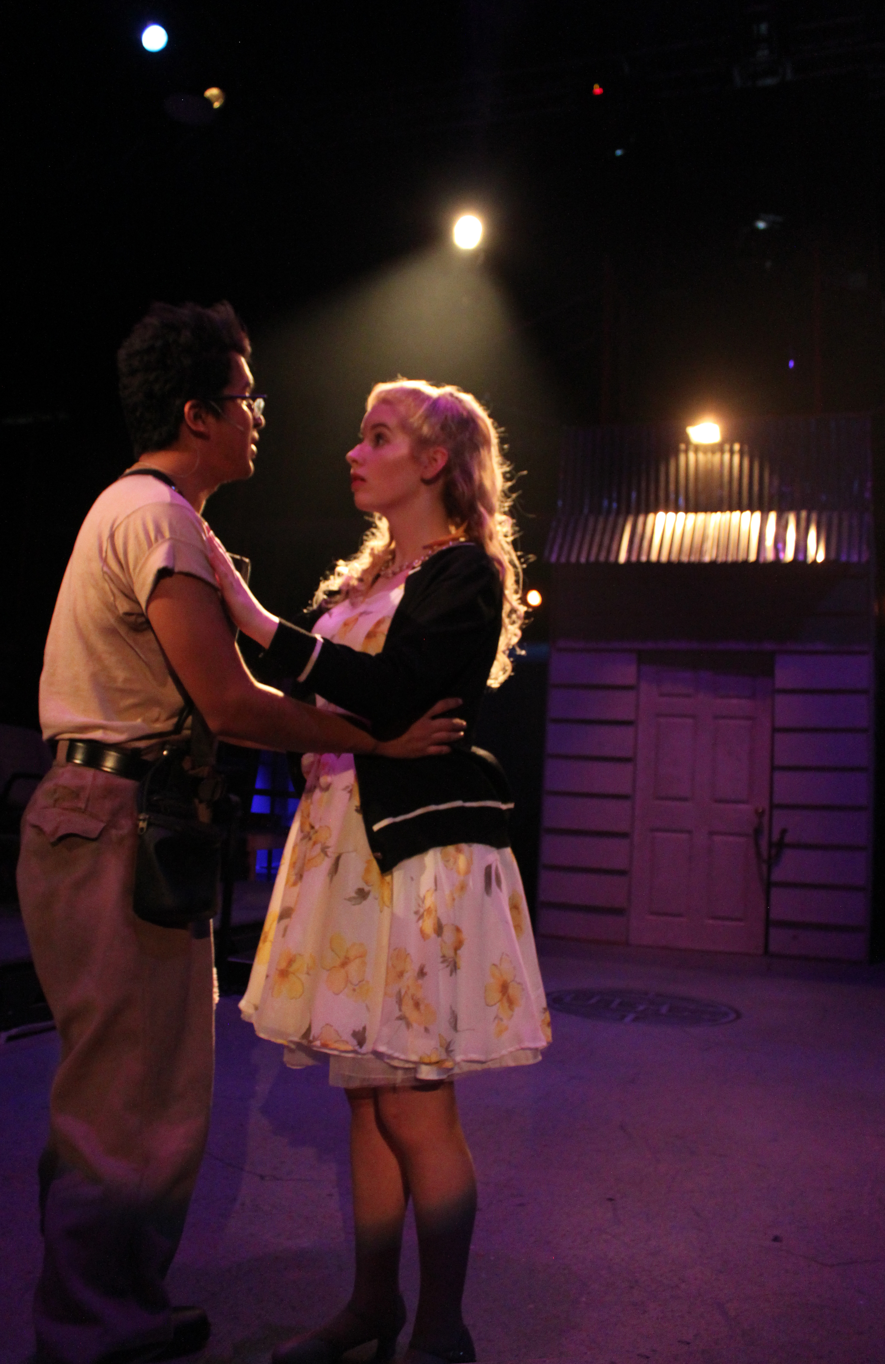 Trey Cardona and Kaitlin McGeHee in Urinetown The Musical, 2017