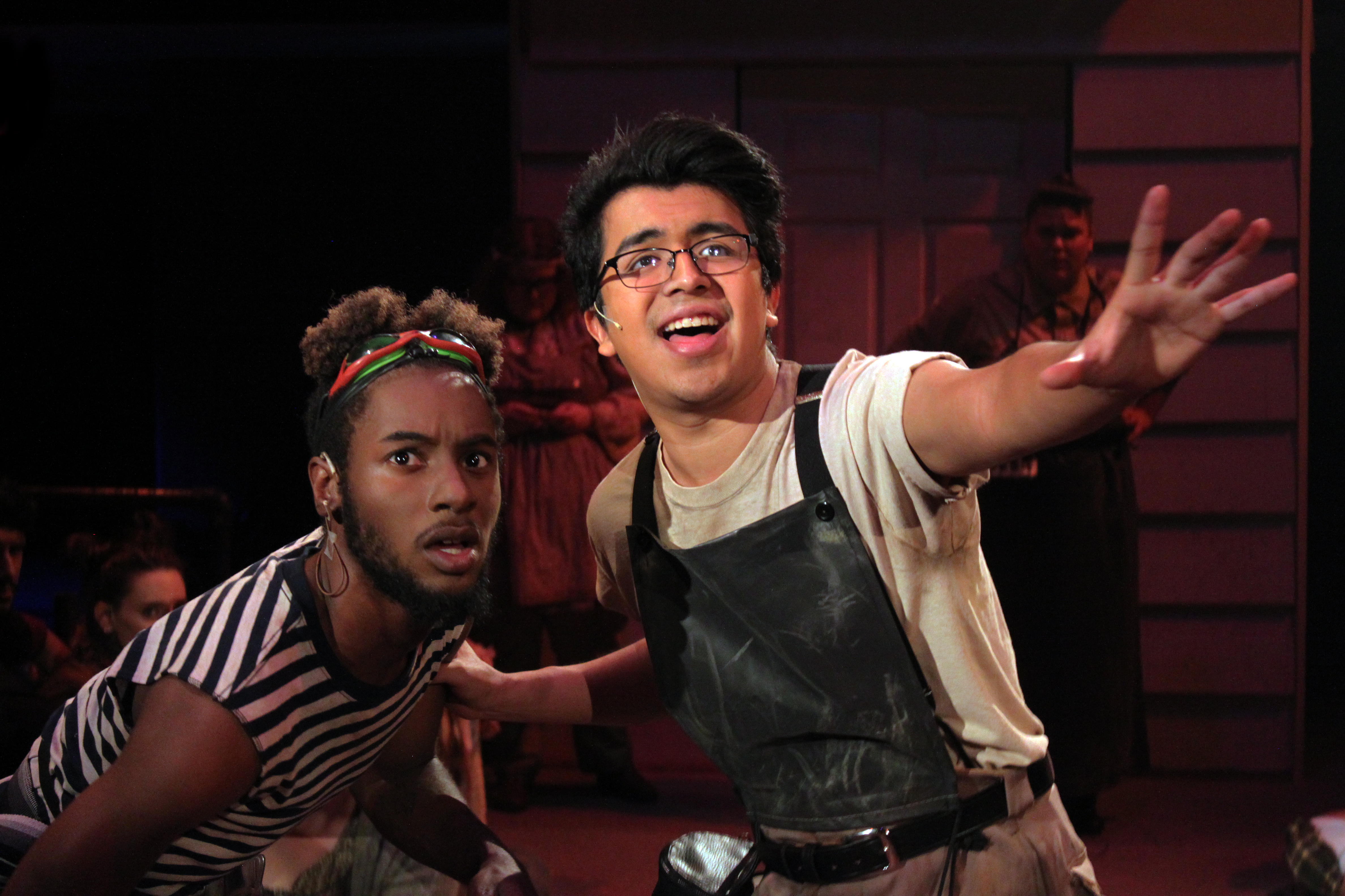 Trey Cardona and TJ Curry in Urinetown The Musical, 2017