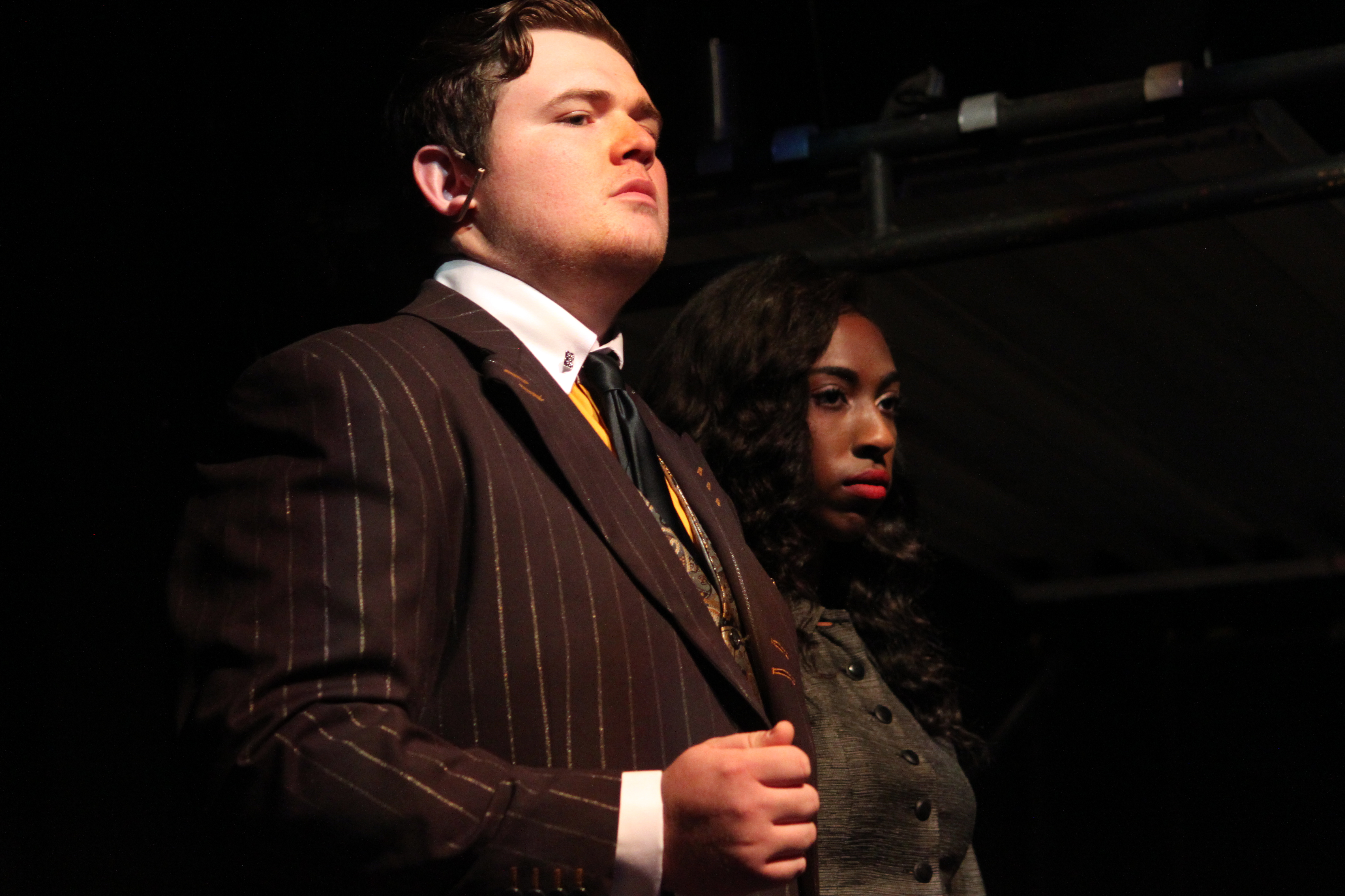 Richard Gibans and Akira Owens in Urinetown The Musical, 2017