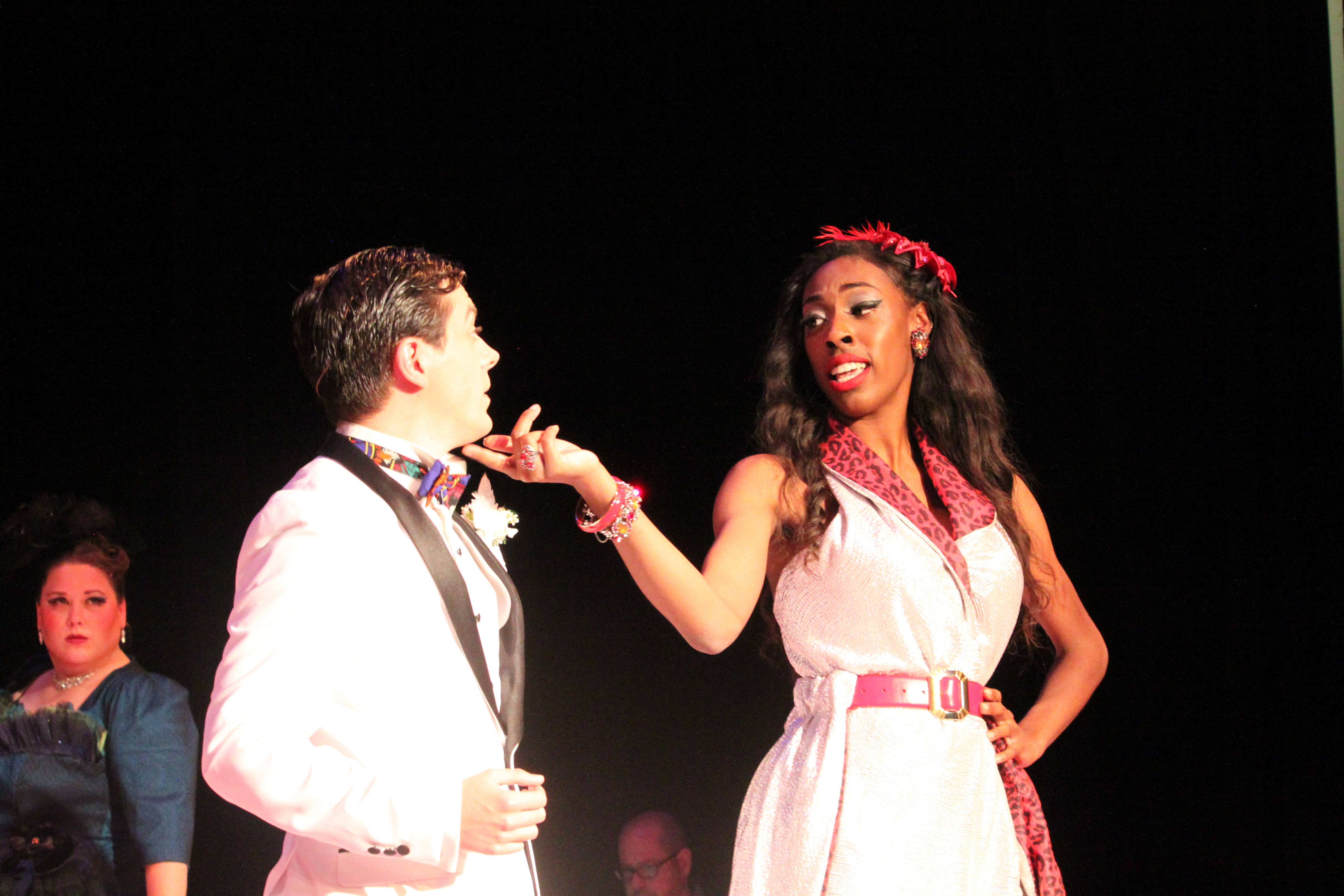 Photo fo Logan Rodgers, Akira Owens, and Michelle Phillips in Clue The Musical production