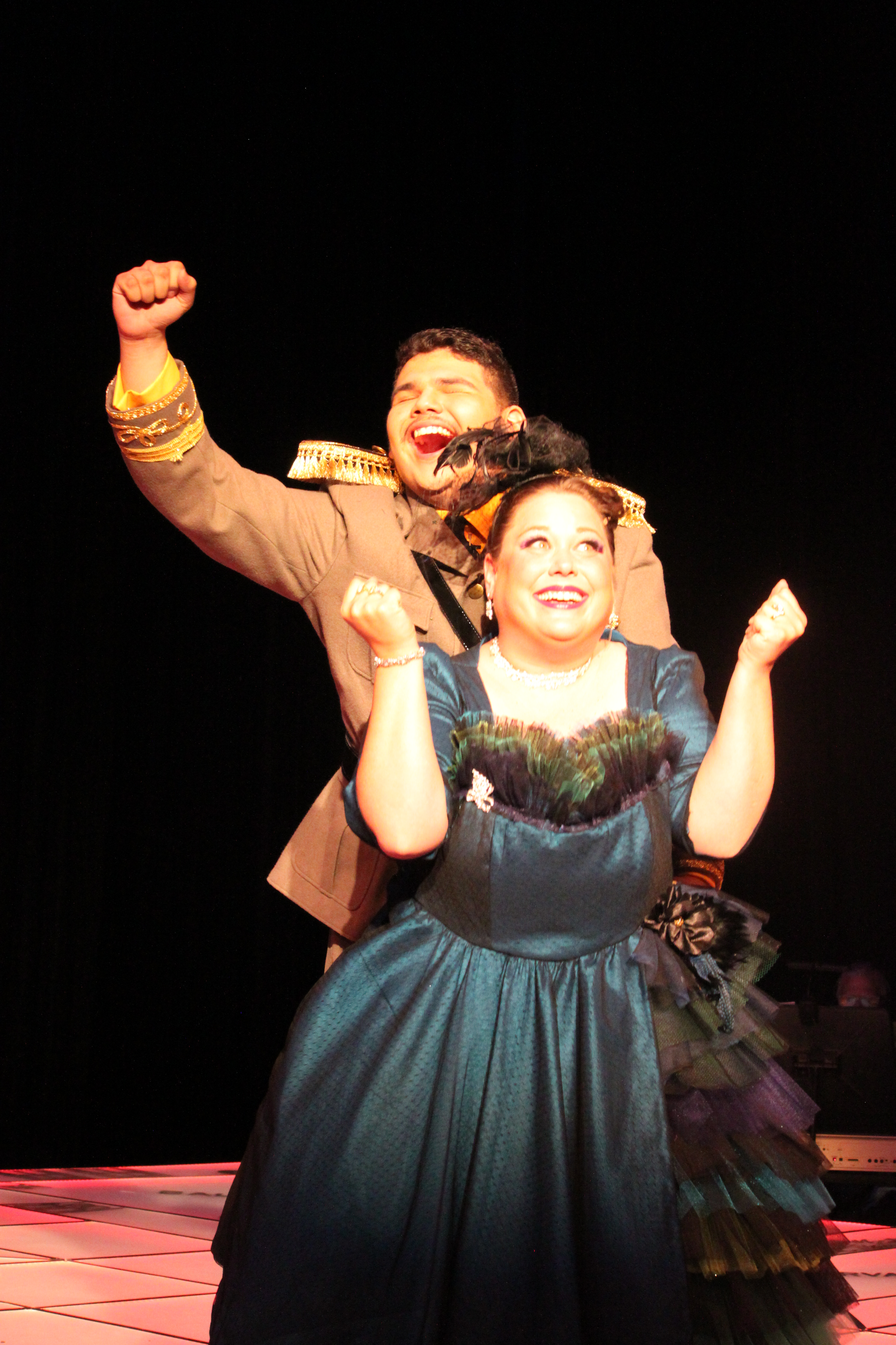 Photo of Eric Nunez and Michelle Phillips in Clue The Musical production