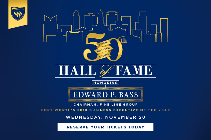 A graphic featuring 2019 BHOF recipient Edward Bass to be used in TXWES news stories