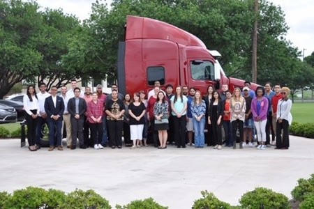 Photo of Texas Wesleyan students visiting Peterbilt site