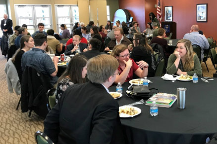 Students attending MEMNTO conference welcome by Provost Allen Henderson and Keynote by Dr. Danielle Joyner in Lou's.